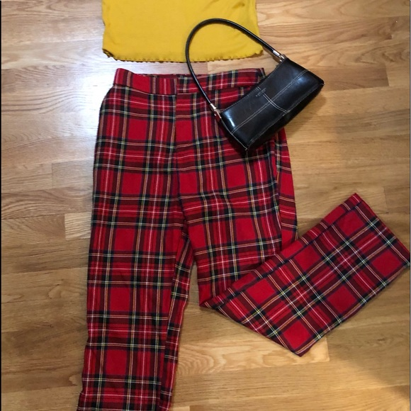 $10. Red Plaid Pants